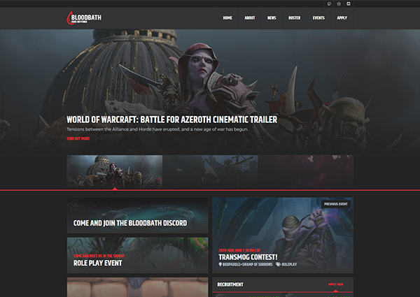 Bloodbath and Beyond guild website design preview