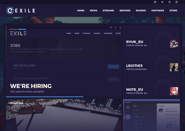 Exile Gaming guild website design preview