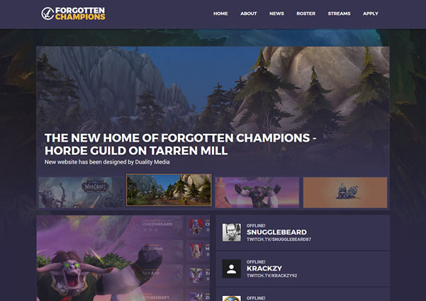 Forgotten Champions guild website design preview