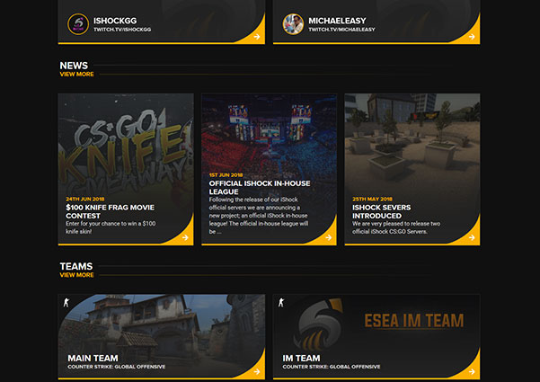 Instant Shock esports website design preview