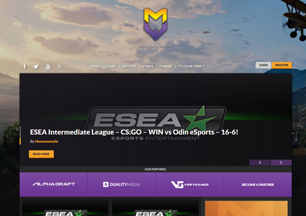 Monumentalis esports website design preview