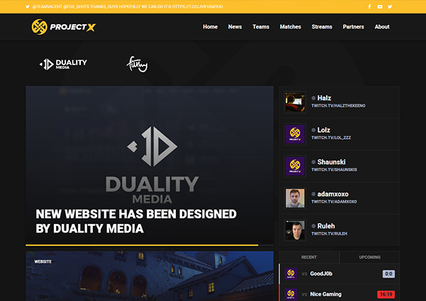 ProjectX esports web design preview
